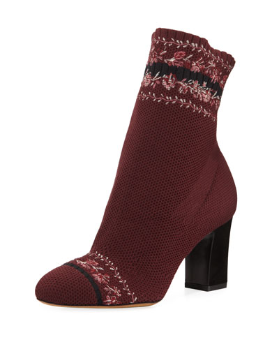 Anna Floral-Embroidered Sock Boot