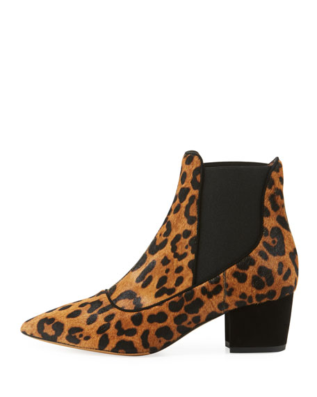 Shadow Leopard-Print Fur Booties