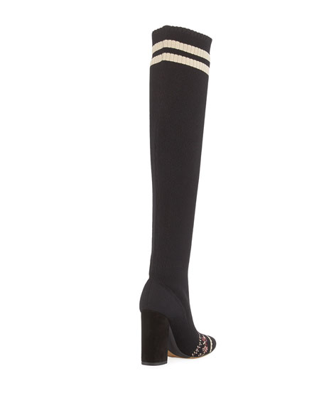 Irina Floral-Embroidered Over-the-Knee Sock Boot