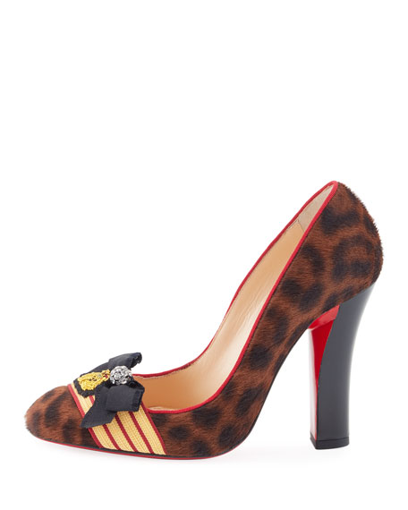Militarpump Calf Hair Red Sole Pump