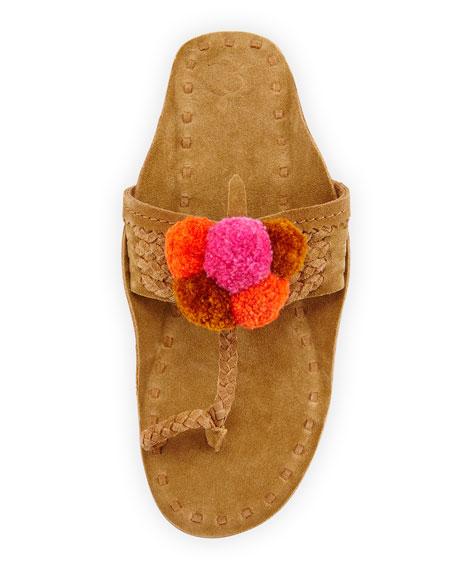 Lolita Suede Pompom Thong Sandal