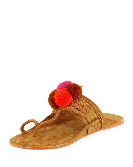 Figue Lolita Suede Pompom Thong Sandal