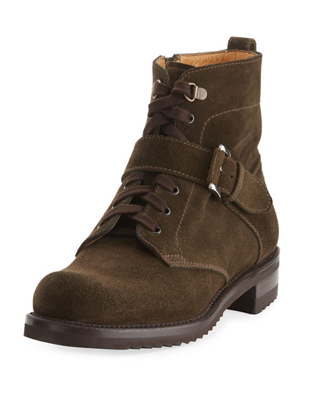 Suede Lace-Up Moto Boot