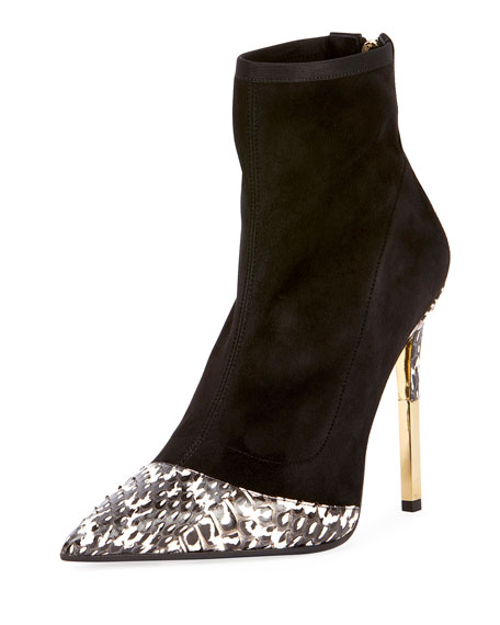Image 1 of 1: Suede Metallic-Heel Cap-Toe Boot