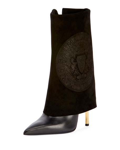 Babette Embossed Suede Fold-Over Boot