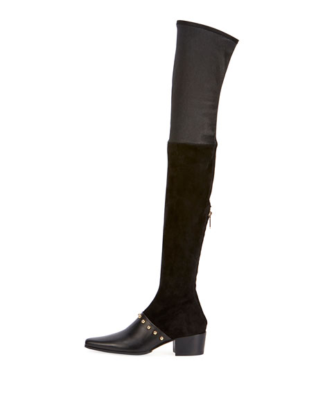 Billie Studded Leather & Suede Over-the-Knee Boot