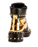 Studded Metallic Leather Combat Boot