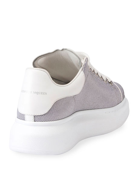 Metallic Textile Platform Low-Top Sneaker