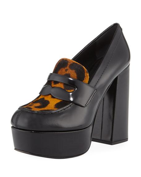 374d694ef175 Prada Leopard-Print Fur Loafer Pumps