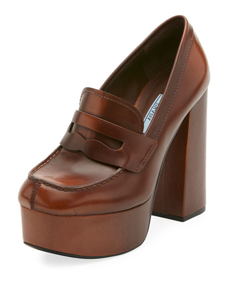 Burnished Leather Platform Loafer Pump
