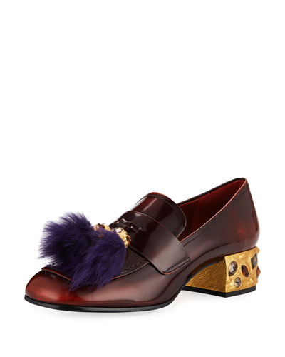 Leather Fur-Tassel Loafer