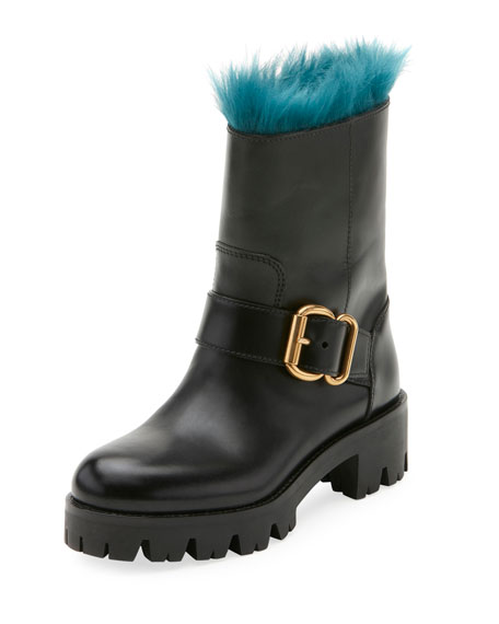 Prada Fur-Lined Leather Moto Boot