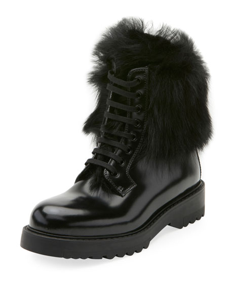 Prada Lace-Up Fur-Lined Boot