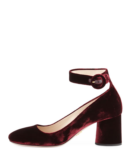 Velvet Block-Heel Ankle-Wrap Pump