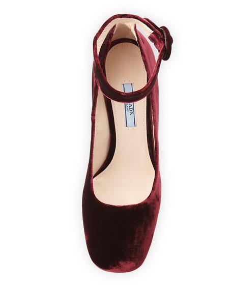 Velvet Block-Heel Ankle-Wrap Pump