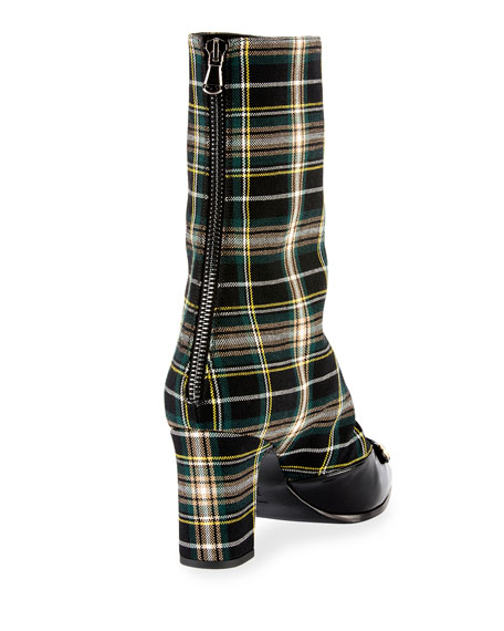 Swanson Plaid Wool Hook-and-Eye Boot, Black Pattern