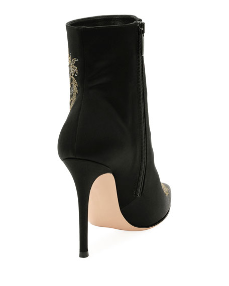 Dragon-Embroidered Satin Bootie, Black