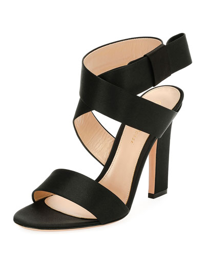 Rae Satin Ankle-Wrap 105mm Sandal