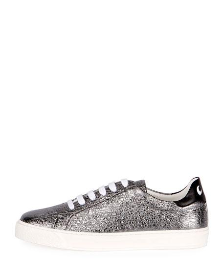 Crinkled Metallic Leather Tennis Sneakers, Black