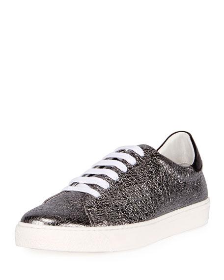 Crinkled Metallic Leather Tennis Sneaker, Black