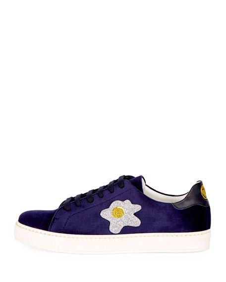 Velvet Glitter Egg Sneaker, Indigo