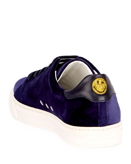 Velvet Glitter Egg Sneakers, Indigo