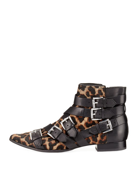 Blast Leopard-Print Calf Hair Buckle Boot