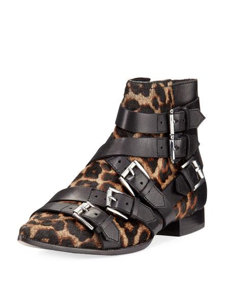 Ash Blast Leopard-Print Calf Hair Buckle Boot