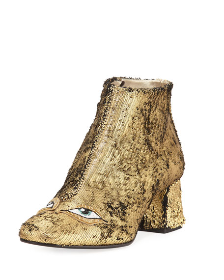 Catroux Eyes Metallic Leather Ankle Boot