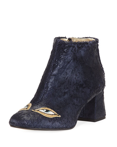 Figue Catroux Eyes Shiny Leather Ankle Boot