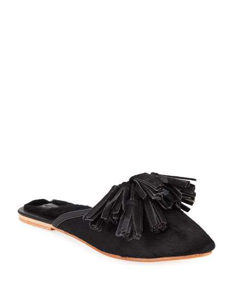 Figue Sade Mixed-Fur Mule Flat