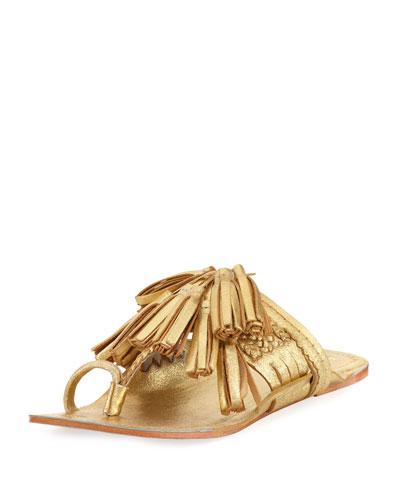 Scaramouche Flat Metallic Slide Sandal