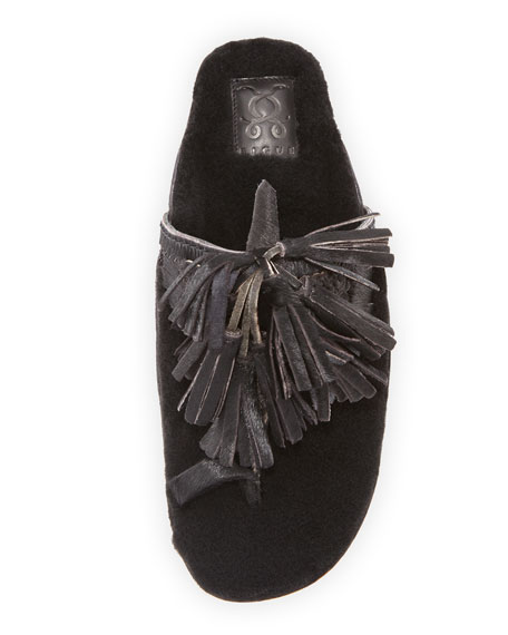 Scaramouche Mixed-Fur Slide Sandal