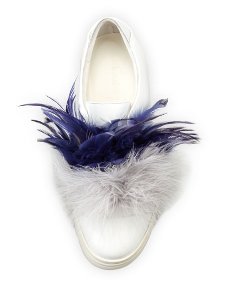 Tina Feather-Embellished Sneaker