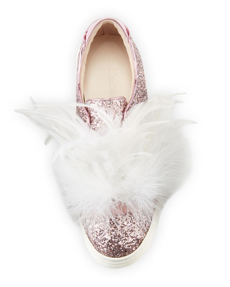 Lesley Glitter Feather-Embellished Sneaker