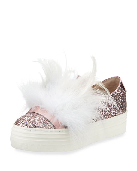 HERE/NOW LESLEY GLITTER FEATHER-EMBELLISHED SNEAKERS