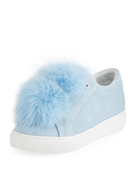 Stella Denim Fur Pompom Sneakers