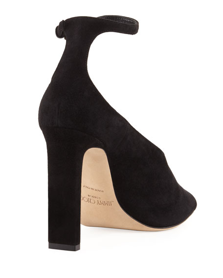 Theresa Half-d'Orsay Ankle-Strap Sandal, Black