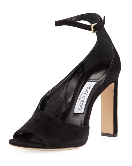 Jimmy Choo Theresa Half-d'Orsay Ankle-Strap Sandal, Black