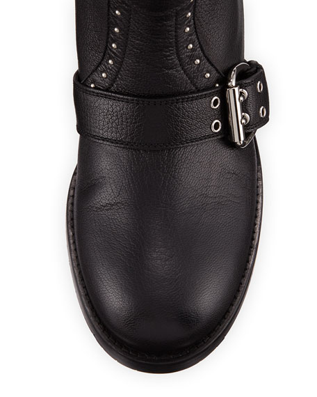 Blyss Pebbled Leather Moto Boot, Black