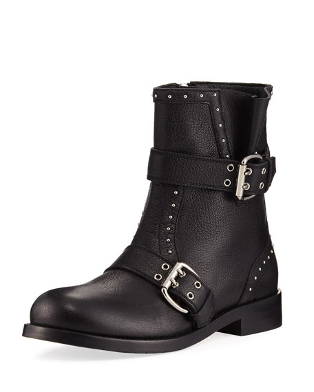 Blyss Pebbled Leather Moto Boot, Black