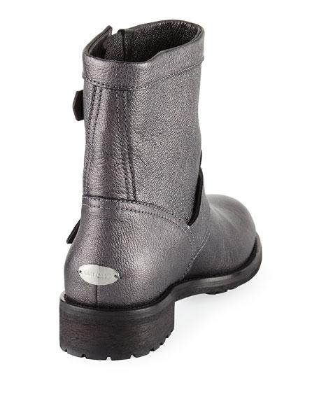 Youth Metallic Leather Biker Boot