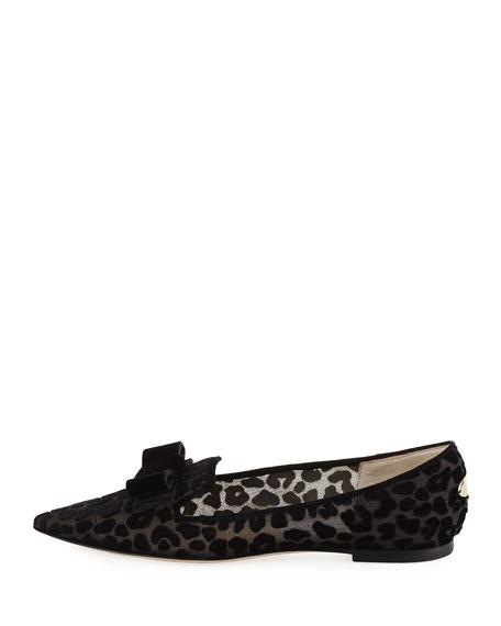 Gala Leopard Devore Velvet-Bow Ballet Flat
