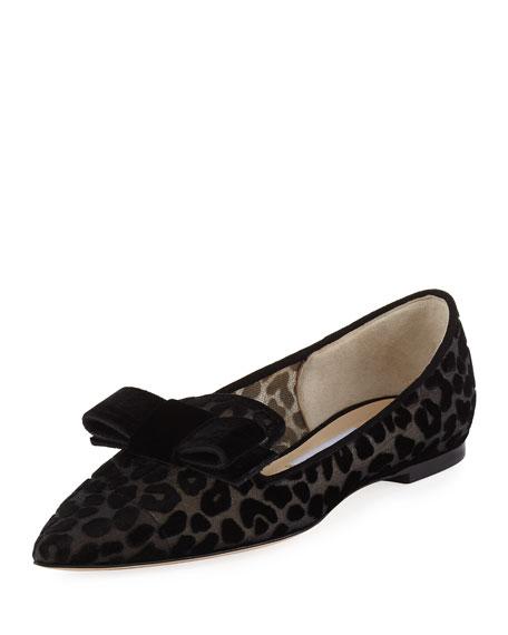 Jimmy Choo Gala Leopard Devore Velvet-Bow Ballet Flat