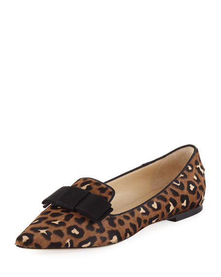 Jimmy Choo Gala Leopard-Print Calf Hair Bow Flat