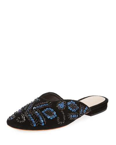 Beaded Sequin Flat Suede Mule, Black/Blue