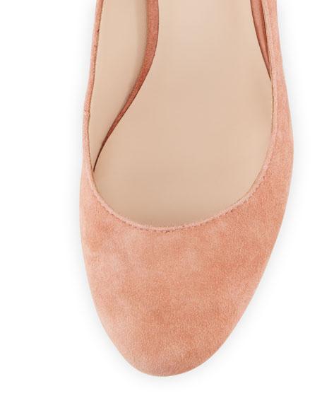 Clea Ruffle-Heel Ankle-Wrap Pump