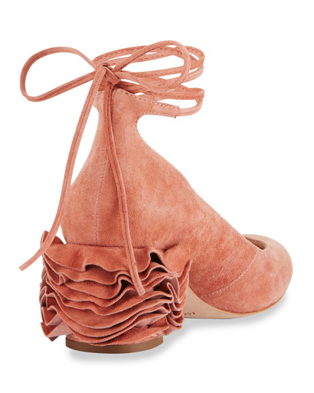 Clea Ruffle-Heel Ankle-Wrap Pumps