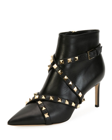 Rockstud Wrapped Leather Ankle Boot