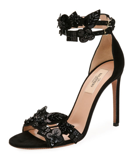 Metallic Pop Flowers Suede d'Orsay Sandal, Black